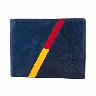 Buff & Jack Stylish Leather Red/Yellow Stripe Wallet For Men (Blue)