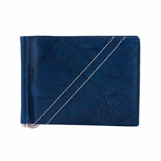 Buff & Jack Stylish Leather Strapped Down Wallet For Men (Blue)